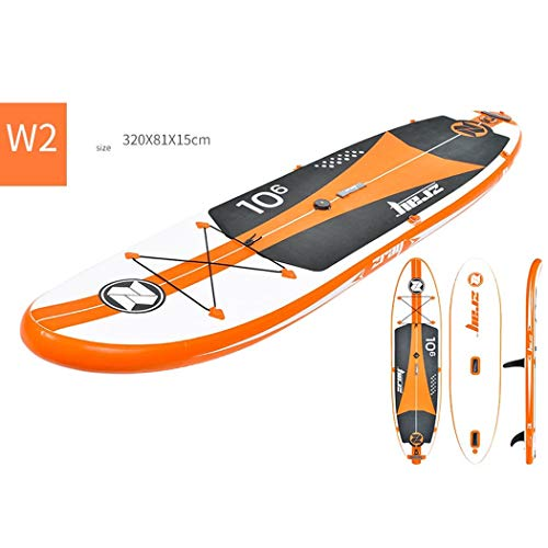 Wu's Tragbare Aufblasbare Stand Up Paddle Board, SUP, Falten, Segel, Leine, Aufbewahrungsriemen, Luftpumpe, Paddel, Rucksack, Schließgurt,W2