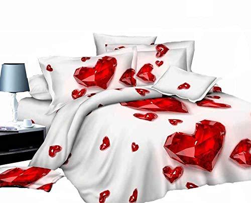 ZQYY Luxuriös 3D Bettbezug, Bettwäsche-Set von 4, Mikrofaser, Einschließlich: Bettbezug 200 * 230cm*1, Kissenbezug 48 * 74 cm*2, Bettlaken 250 * 250cm*1