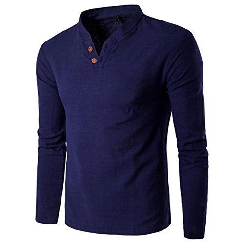 Moonuy,Herren Langarm Pullover, Solides Sweatshirt Top Tee Outwear Persönlichkeit Knopf V-Ausschnitt Bluse, Casual Leinen Bluse für Jungen, Mode Charme Slim T-Shirt (Marine, EU 40 / Asien XL) (Cashmere-fox)