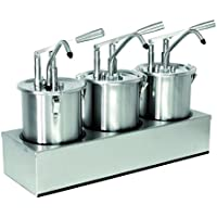 Sauce Dispenser (Triple) Pack of 5 Litres Stainless Steel with Lever Operation