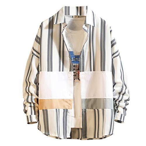 DeHolifer Herren Hemd Nähen Streifen Hemd Mode Lange Ärmel Revers Freizeit Lose Hemd Herbst Männer Top Casual Knopf Hemd Slim Fit Atmungsaktiv Hemd