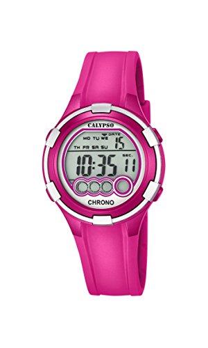Calypso–Reloj digital de mujer con esfera de LCD pantalla Digital y rosa correa de plástico K5692/6