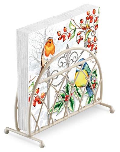 Rotkehlchen Blaumeise Heilig Weihnachten Geprägt 20 X 3 Ply Papierservietten & Gitter Creme Aufrecht Serviette Halter Set - Vögel Serviettenhalter