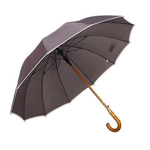 AP® - Automatik Regenschirm windfest für Damen und Herren - eleganter Stock-Schirm aus Holz - 12 fache Verstrebung Carbon Fiber - groß stabil & windresistent sturmfest - 115cm Ø (Grau)