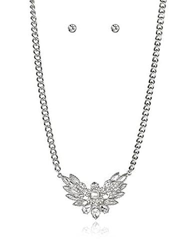 LUX Zubehör Silvertone Pearl Strass Halskette Ohrringe Geschenk jewelry set