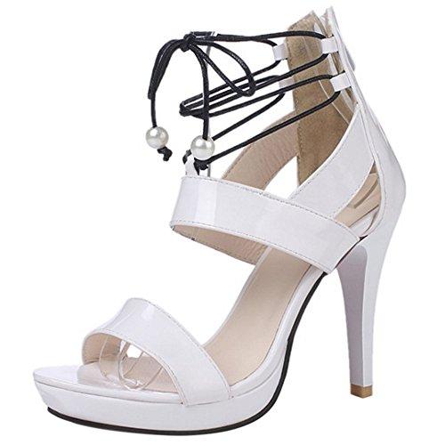 COOLCEPT Femmes Mode Lacets Sandales Orteil ouvert Talon Aiguille Chaussures With Fermeture eclair Blanc