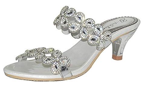 Honeystore Frauen Funkelnde Glitzer Niederiger Absatz Sandalen Pantoffel mit Strass Schuhe Silber 33.5 (Bama Rolle)
