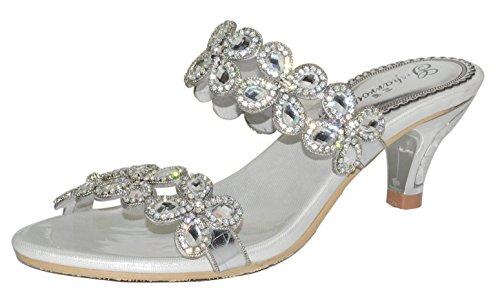 Honeystore Frauen Funkelnde Glitzer Niederiger Absatz Sandalen Pantoffel mit Strass Schuhe Silber 33.5 EU (Alden Stiefel)