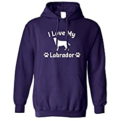 I Love My Labrador Dog Lover Gift Cute Adorable Silouhette Dog Breed Owner Pet Animal Companion Hound Paw Canine Unisex Hoodie Cool Birthday Gift Present