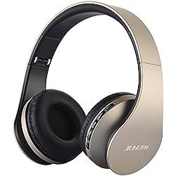 Auriculares inalámbricos sobre el oído, JIUHUFH Auriculares Bluetooth con micrófono incorporado/Reproductor de MP3/Radio FM/Modo con cable para PC/Teléfonos celulares-Dorado