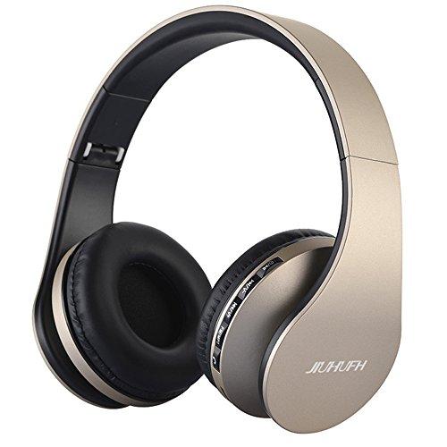 Auricolare Wireless Cuffie, Bluetooth Cuffie Pieghevole JIUHUFH con Microfono incorporato/Lettore MP3/Radio FM/Auricolari comodi, Supporta la modalità di chiamata a mani libere/PC/Cellulare-Oro