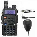 Baofeng UV-5R Funkgeraet+Remote Speaker+Programming Cable Scharz