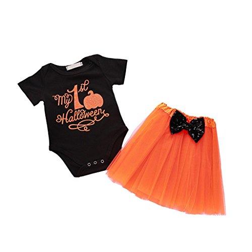 Anywow Baby Mädchen Meine Erste Halloween Kürbis Strampler Jumpsuit Bodysuit Einteiler + Tutu Kleid Set 3-18M (Mein Erstes Tutu-outfit Halloween)