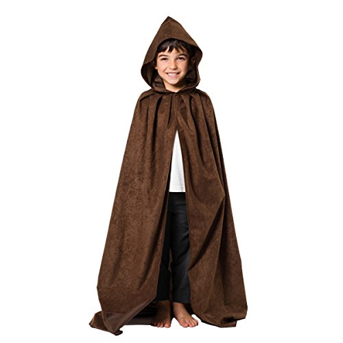 Dunkelbrauner Umhang mit Kapuze - Einheitsgröße 8-10 - Hobbit Kostüm Kind