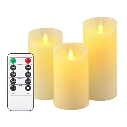 Battery candles,Flickering Flameless Candles Set with Remote (3-Piece) Ivory Wax Pillar | Bathroom, Kitchen, Home Décor | Battery Powered, Reusable, Multiple Sizes (Upgraded,250+Hours)