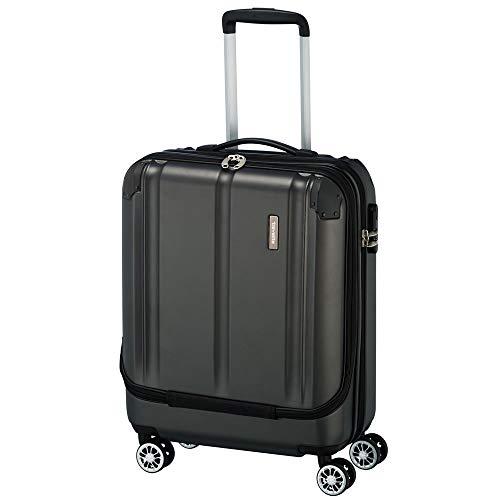"""Travelite Leicht, flexibel, sicher: \""""City\""""-Hartschalenkoffer für Urlaub und Business (auch mit Vortasche) Koffer, 55 cm, 40 Liter, Anthrazit"""