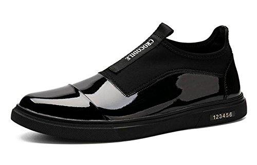 SHIXR Männer Lace-Up Flats Skateboard Schuhe Leder Boutique Casual Schuhe Trend Sets von Fuß Schuhe Black