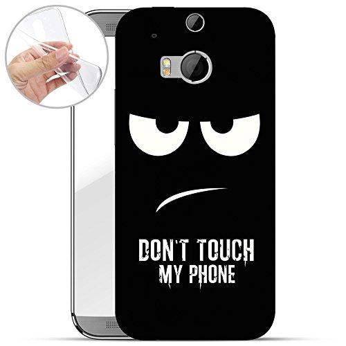 finoo | HTC one M8 Weiche flexible Silikon-Handy-Hülle | Transparente TPU Cover Schale mit Motiv | Tasche Case Etui mit Ultra Slim Rundum-schutz | Don't touch my phone