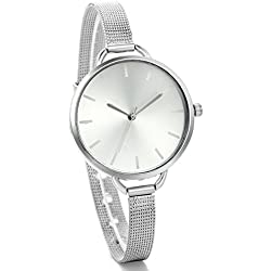 JewelryWe Lady Ultra Thin Dial Silver-tone Mesh Stainless Steel Strap Water Resistant Quartz Wrist Watch