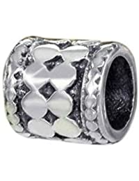 Materia 925 plata Spacer granos europeos entre element círculo adornos antiguo para granos pulsera #614