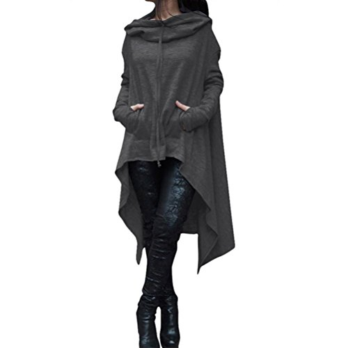 DOLDOA Damen Pullover,Frauen Unregelmäßige Strick Lange Ärmel Pullikleid Longshirt Top Minikleid (EU:48 Fehlschlag:112cm/44.1, Dunkel Grau) (Top Puff 3/4 Ärmel)