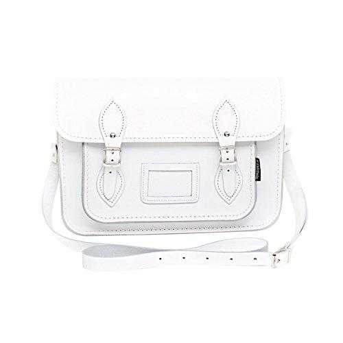 Zatchels Mag Dots - Sac cartable en cuir (Fabrication britannique à la main) - Femme Blanc