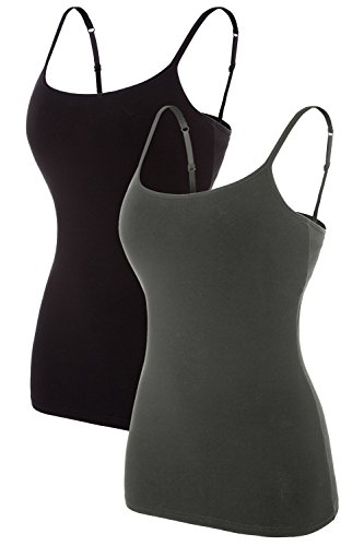 CharmLeaks Damen Unterhemd Spaghettiträger Top Hemdchen Baumwolle BH-Hemd Grau + Schwarz 2XL