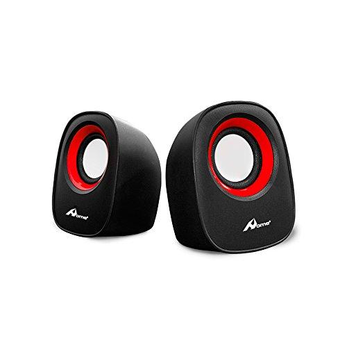 OME - Altavoces para ordenador portátil con USB para conectar con cable de audio Jack 3.5 - 2x2,5W con USB 2.0 modelo Lilly-Rojo