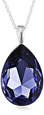 Elements Sterling Silver P2818M Ladies' Teardrop Tanzanite Colour Crystal Pendant on Chain