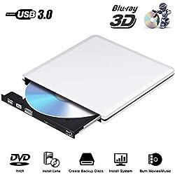 Lecteur Graveur DVD Externe Blu Ray 4K 3D, USB 3.0 DVD Ultra Slim de DVD CD-RW pour Mac OS, Linux, PC Windows XP/Vista / 7/8/10