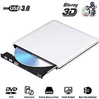 Lecteur Externe DVD Blu Ray 3D 4K, USB 3.0 Graveur Bluray Portable CD DVD Row Writer pour PC,Mac Os, Windows, Chromebook,PC