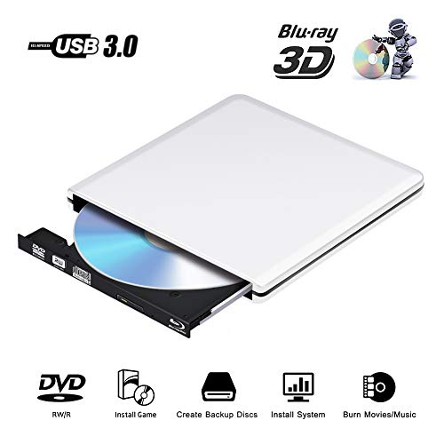 Externe DVD Laufwerk Blu Ray 3D 4K,USB 3.0 Blueray CD DVD RW Rom Player Brenner Tragbar für PC MacBook iMac Mac OS Windows 7/8/10/Vista/XP