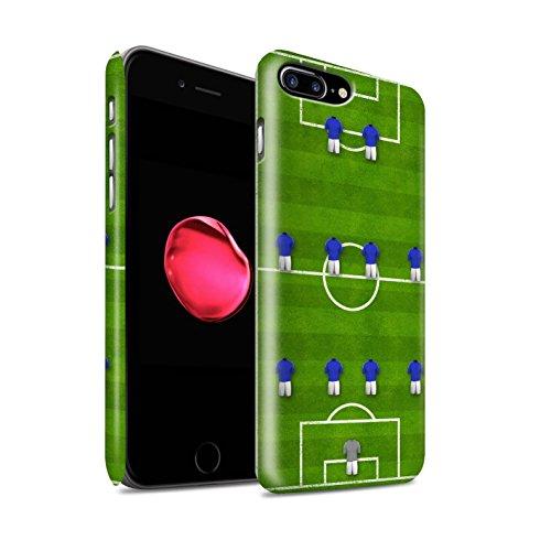 STUFF4 Matte Snap-On Hülle / Case für Apple iPhone 8 Plus / 4-1-2-1-2/Weiß Muster / Fußball Bildung Kollektion 4-4-2/Blau