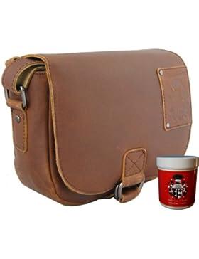 FREIHERR von MALTZAHN Schultertasche, Handtasche, Satteltasche ARTEMIS aus braunem Leder, inkl. Lederpflege