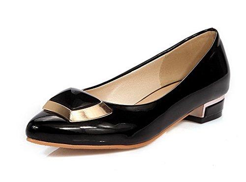 AgooLar Femme Tire à Talon Bas Pu Cuir Couleur Unie Pointu Chaussures Légeres Noir