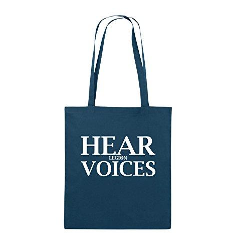 Comedy Bags - HEAR VOICES - LEGION - Jutebeutel - lange Henkel - 38x42cm - Farbe: Schwarz / Silber Navy / Weiss
