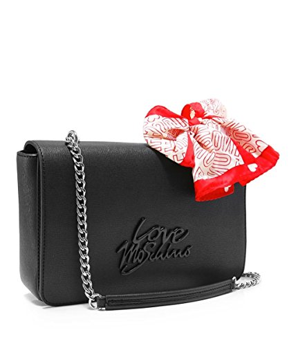 Love Moschino Damen Schultertasche aus Leder Schwarz Schwarz