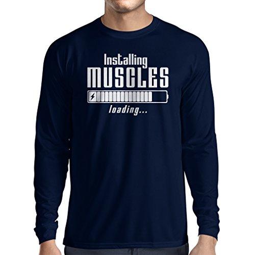 Langarm Herren t shirts Muskelarbeit Kleidung - für Muskelaufbau Meister, Vintage Design, Fitness Kleidung (XX-Large Blau Weiß)