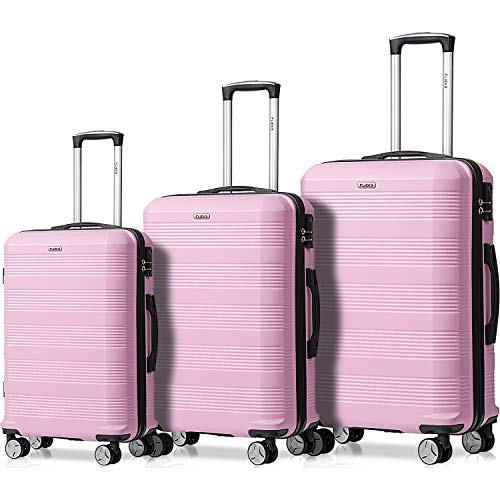 Flieks Reisekoffer Kofferset Hartschale 4 Zwillingsrollen Trolleys Gepäck Koffer 3tlg. (Pink, Set)