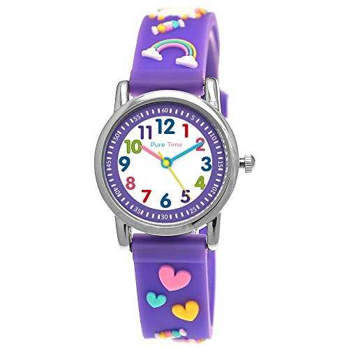 Pure Time® Einhorn Unicorn Kinder-Uhr Mädchen-Uhr Kinder Armband-Uhr Pferd Pony Tier Silikon Armband Mädchen Uhr Kinderuhr Bunt Weiß Rosa Lila Türkis Gelb Rot Blau Sport-Uhr Lern-Uhr Schul-Uhr 3D