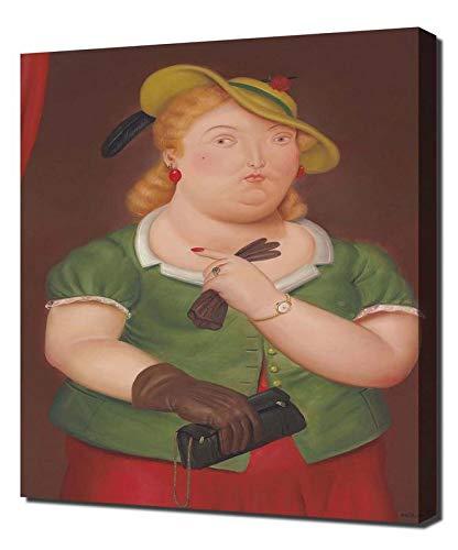 Pingoo Prints Fernando Botero Woman with Hat - Leinwandbild - Kunstdrucke - Gemälde Wandbilder