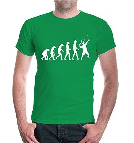 buXsbaum® Herren Unisex Kurzarm T-Shirt The Evolution of Tennis | Tennischläger Tennisball kellygreen-white