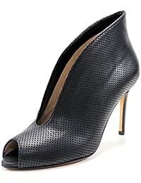 Giorgio Rea scarpe donna fatte a mano in Italia tronchetti neri spuntati open toe aperti avanti vera pelle alta moda e qualità tacco a spillo 10 cm.