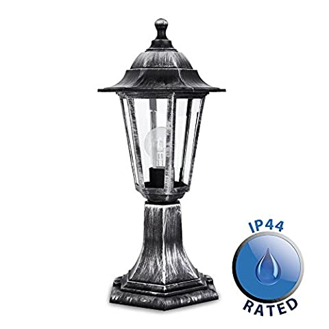 Traditional Victorian Style Brushed Silver And Black Outdoor Garden Lamp Post Top Lantern Light - IP44 Rated