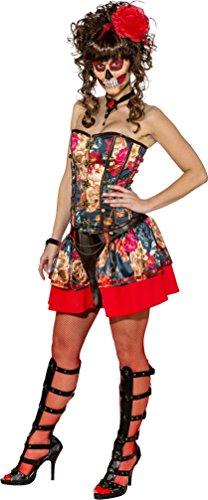 Braut Skelett Zuckerschädel Halloween Kostüm Kleid Outfit UK 8-22 Übergröße - Schwarz, Mehrfarbig, X-Large (Tote Braut Halloween Kostüm Uk)