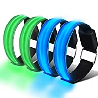 SAKUUMI LED Armband, 4-Pack Glow Bracelets Safety Light-Up Sports Wristband Ankle Reflective Strips with Ultra Bright LED for Running, Jogging, Outdoor Exercise & Activities at Night (Green & Blue)