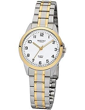 Regent Damen-Armbanduhr Elegant Analog Edelstahl-Armband silber gold Quarz-Uhr Ziffernblatt weiß URF1006