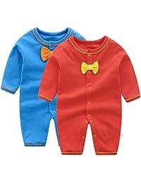 Pijama para Bebé 2 piezas Niños Niñas Pelele Manga Larga Mameluco Mono Body Algodón ...