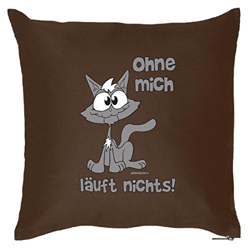 Tierisches Sofakissen - Cooles Geschenk Katzenbesitzer : Ohne mich läuft nichts! Kat / Kissen mit Füllung - Farbe: brau