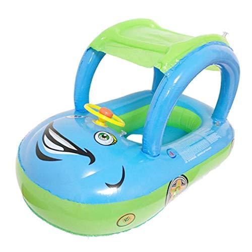 Vektenxi Baby-Kinderpool schwimmt, aufblasbares Schwimmersitz-Boot, Rohr-Schwimmring - Auto-Sonnenschutz-Swimmingpool langlebig und nützlich -